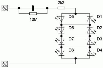 Schéma zapojení svítidla s LED s kapacitním předřadníkem